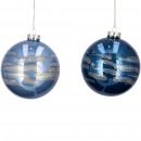 Glass ball Lah, 2 colors, D10cm, light blue / dark